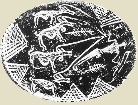 Naqada 1 culture pottery showing hounds